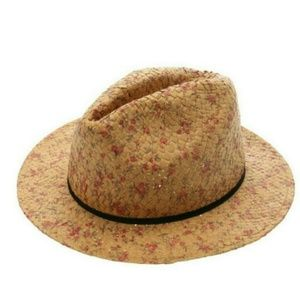 Floral Straw Fedora Hat